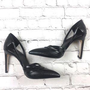 Zara Black Snakeskin strait heels